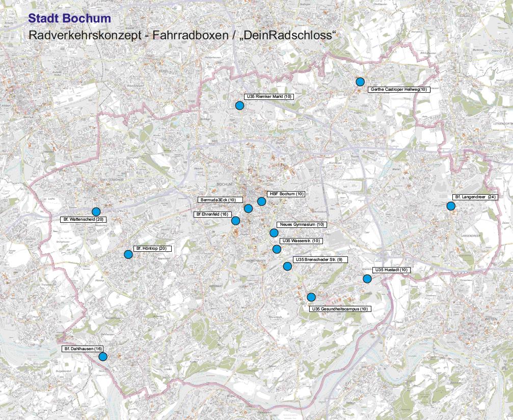 Bochum Karte.Bochum übersichtskarte Der Geplanten Deinradschloss Standorte